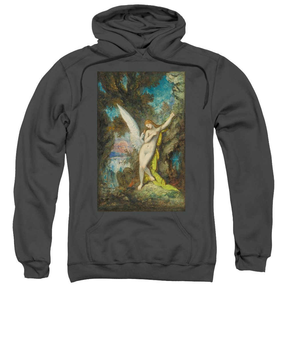 Gustave Moreau Sweatshirt featuring the painting Leda And The Swan by Gustave Moreau