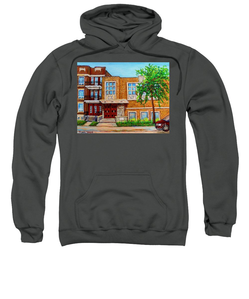 Montreal Sweatshirt featuring the painting Legare And Hutchison Synagogue Montreal by Carole Spandau