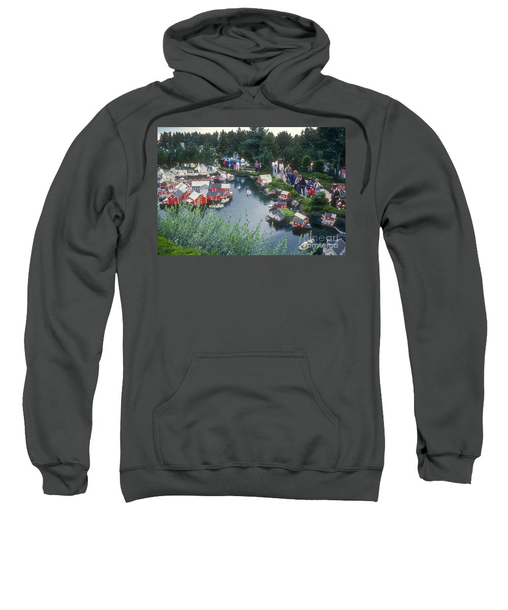 Legoland Billund Denmark Lego Legos Tree Trees Replica Replicas Artwork Odds And Ends People Person Persons Creature Creatures Sweatshirt featuring the photograph Lego Replicas by Bob Phillips
