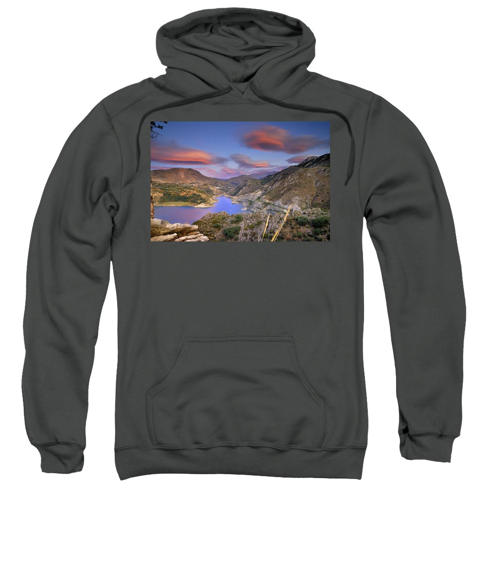 Sunset Sweatshirt featuring the photograph Lenticular Clouds At The Red Sunset by Guido Montanes Castillo