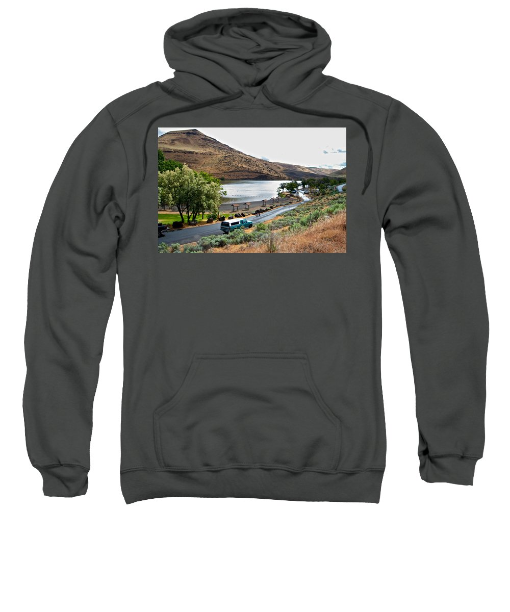 Lepage Rv Park Sweatshirt featuring the photograph Lepage Rv Park On Columbia River-or by Ruth Hager