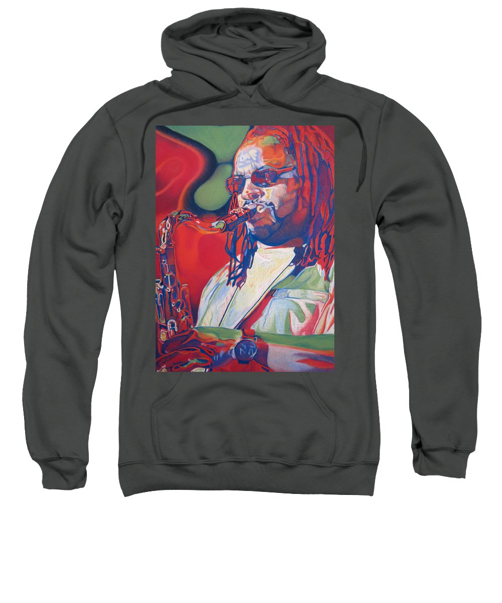 Leroi Moore Sweatshirt featuring the drawing Leroi Moore Colorful Full Band Series by Joshua Morton