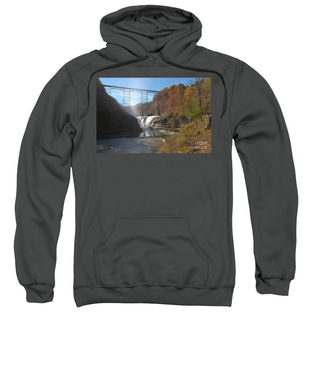 Ny Sweatshirt featuring the photograph Letchworth High Falls by William Norton