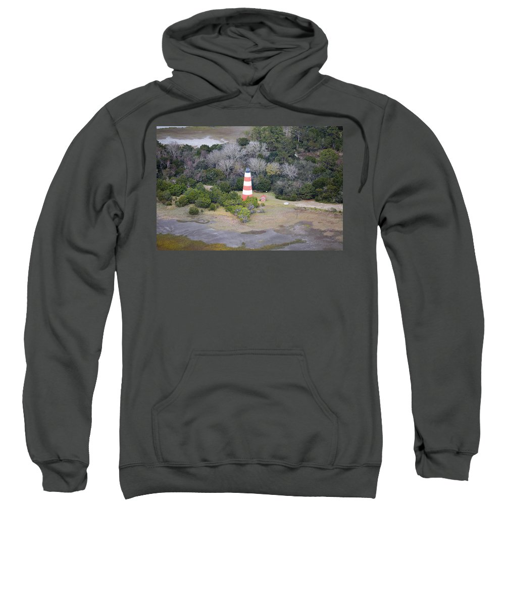 Jekyll Sweatshirt featuring the photograph Lighthouse Aerial Near Jekyll Island by Betsy Knapp