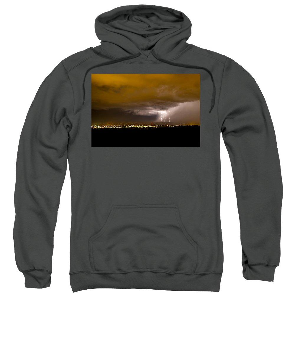 Bolts Sweatshirt featuring the photograph Lightning 17 by Jeff Stoddart