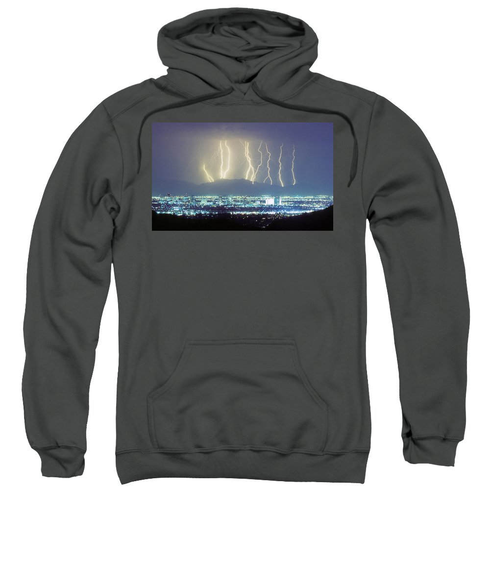 Lightning Sweatshirt featuring the photograph Lightning Striking Over Phoenix Arizona by James BO Insogna