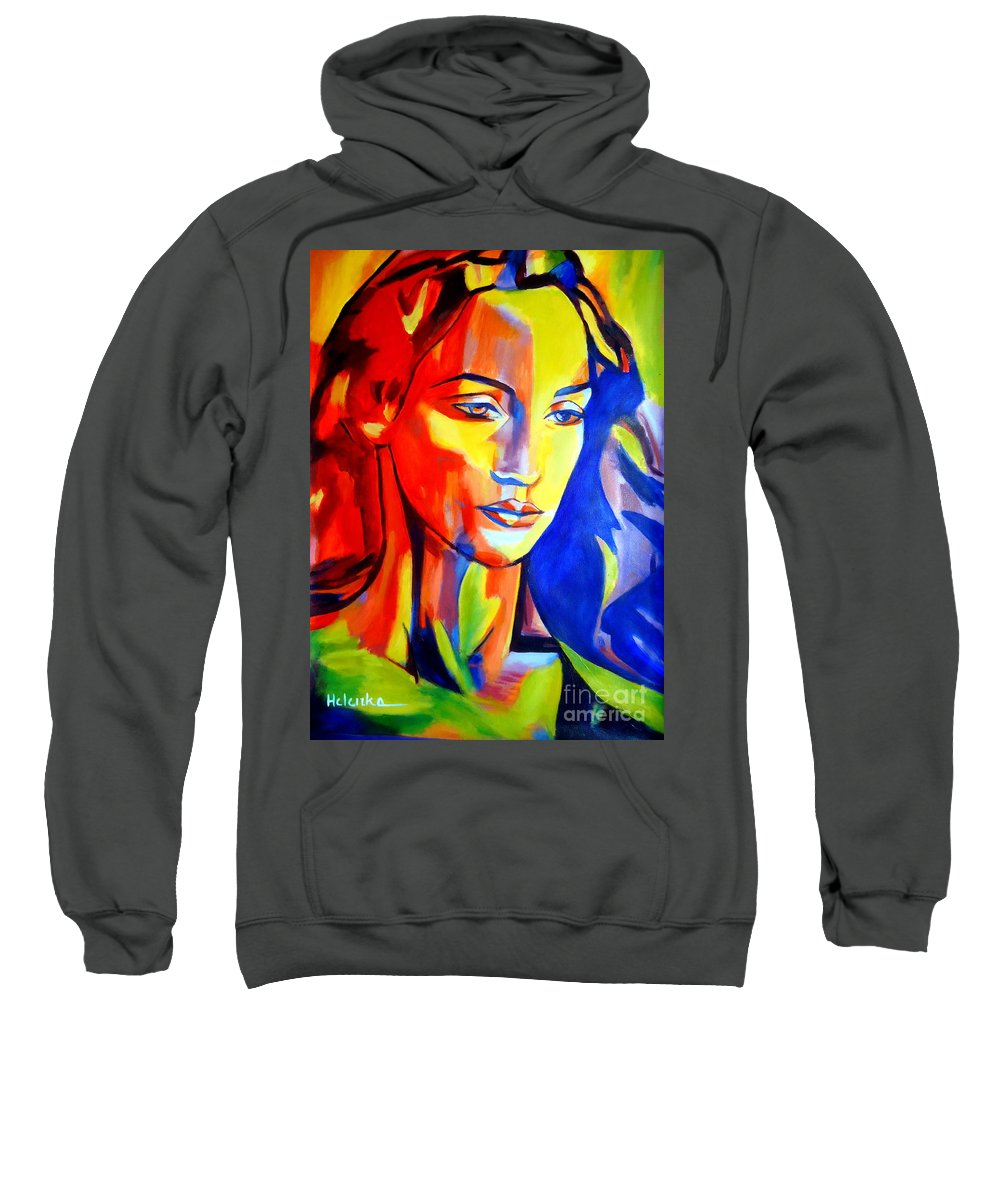 Contemporary Art Sweatshirt featuring the painting Like A Madonna by Helena Wierzbicki