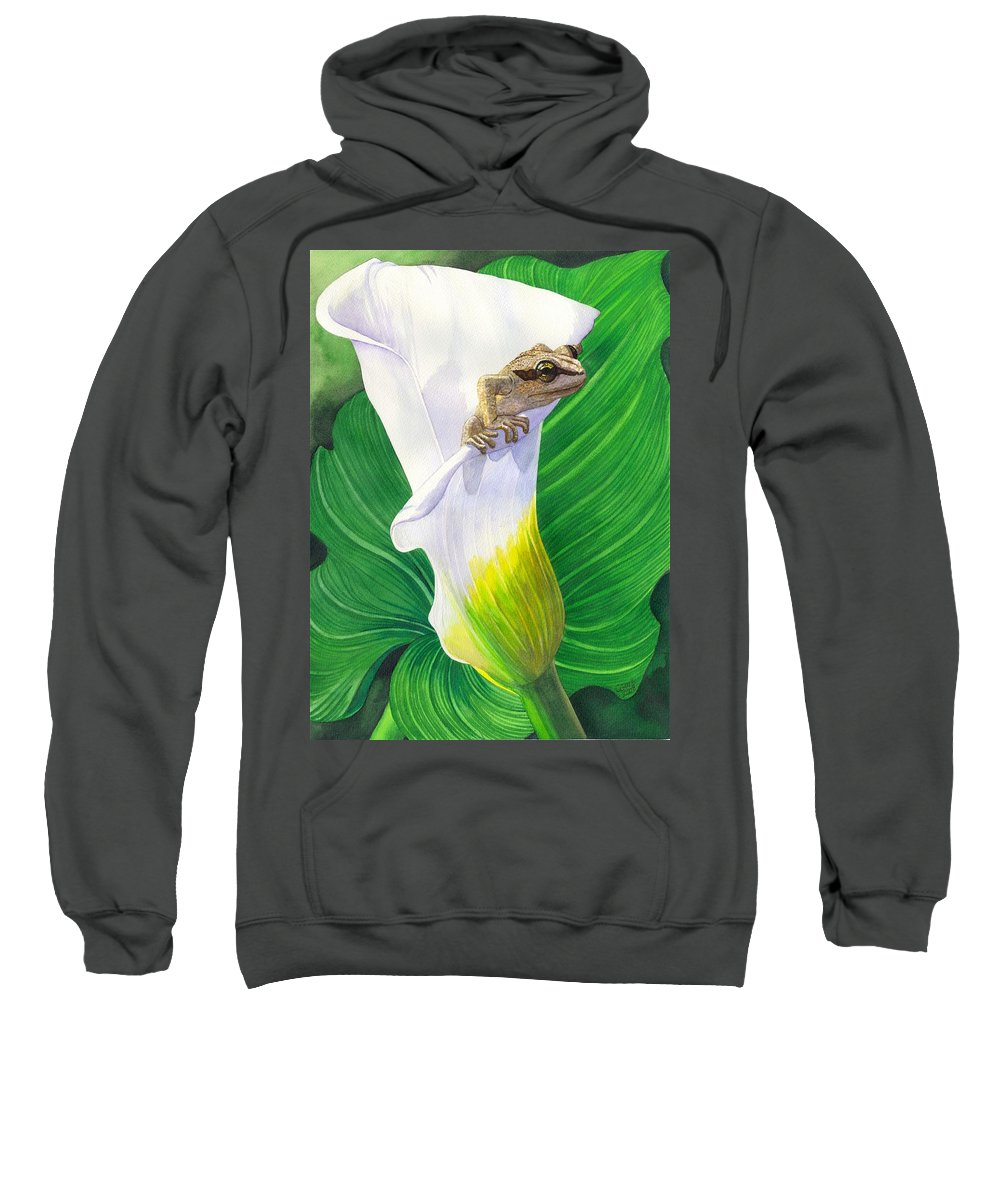 Frog Sweatshirt featuring the painting Lily Dipping by Catherine G McElroy