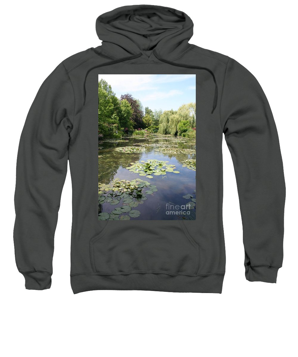 Liliy Sweatshirt featuring the photograph Lily Pond - Monets Garden by Christiane Schulze Art And Photography