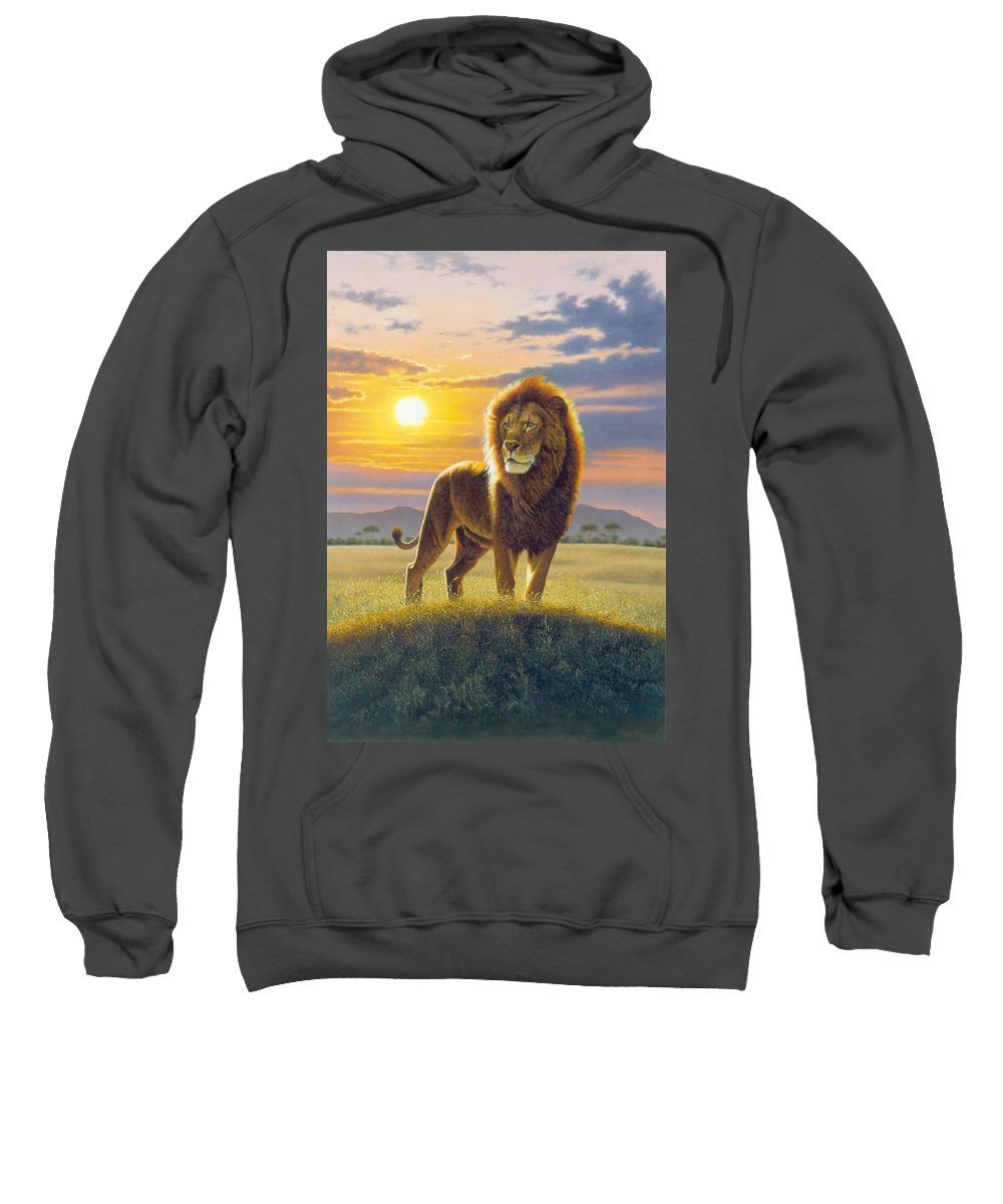 Animal Sweatshirt featuring the photograph Lion by MGL Studio - Chris Hiett