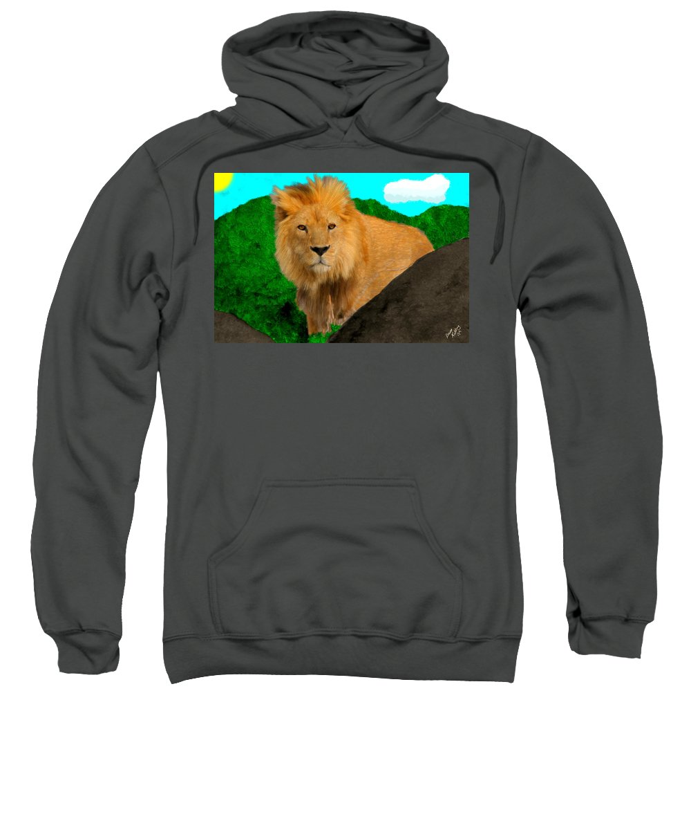 Lion Sweatshirt featuring the painting Lion Prowling by Bruce Nutting