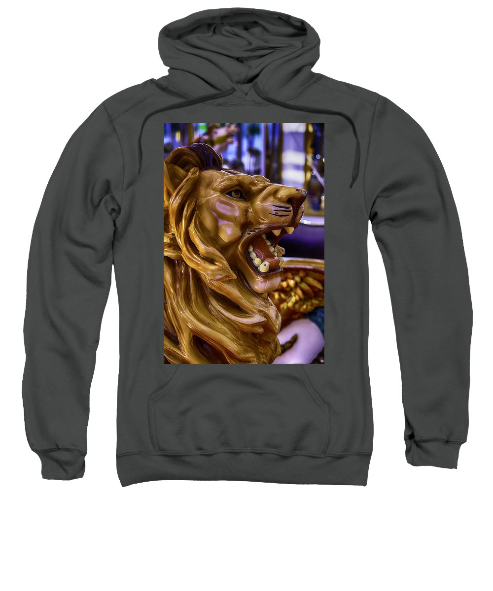 Magical Carousels Sweatshirt featuring the photograph Lion Roaring Carrousel Ride by Garry Gay