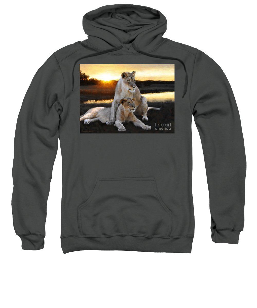 Lioness Sweatshirt featuring the painting Lioness Protector by Constance Woods