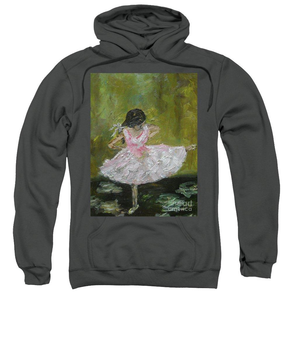 Girl Sweatshirt featuring the painting Little Dansarina by Reina Resto
