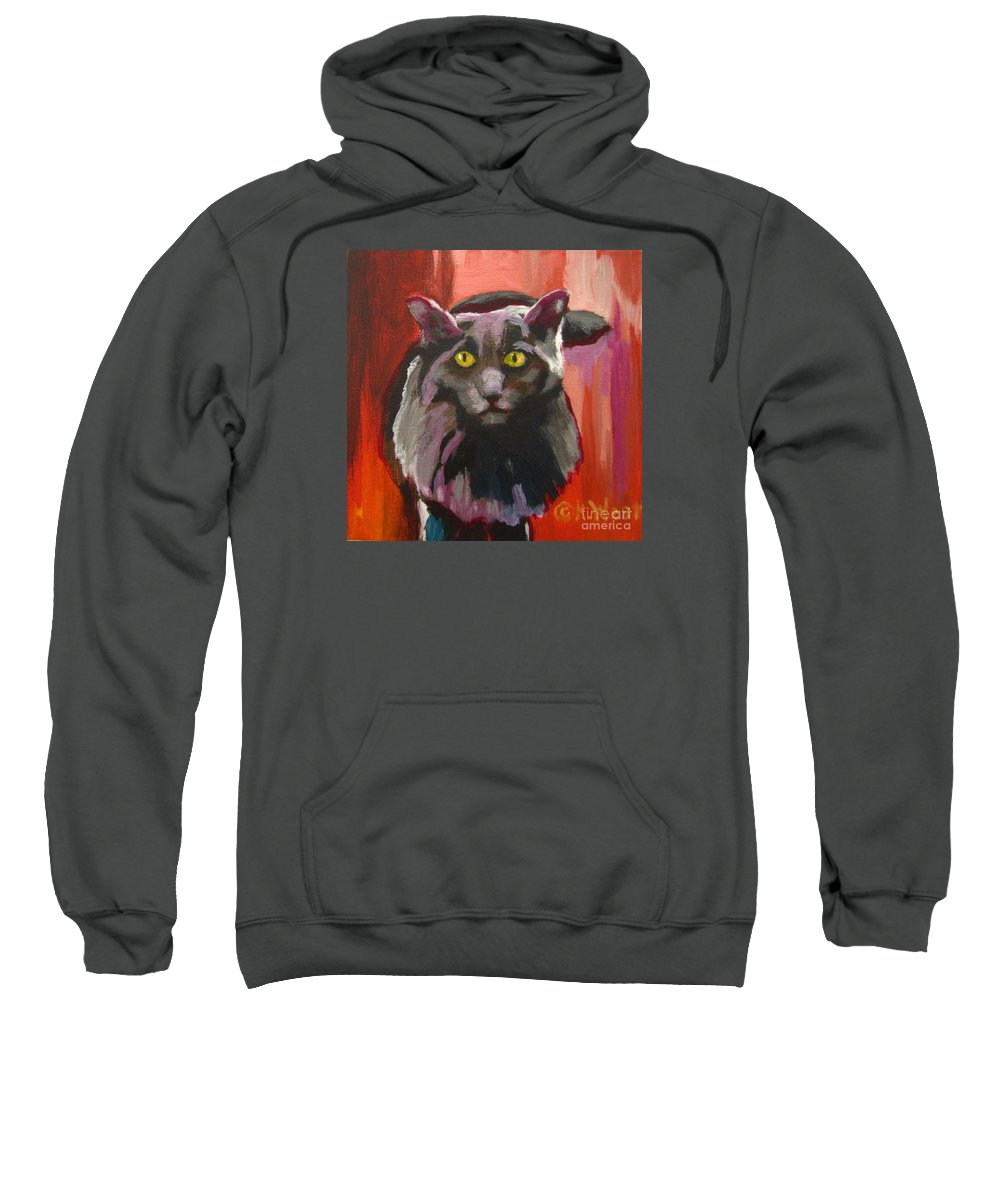 Cat Sweatshirt featuring the painting Little Darling Knows by Katrina West