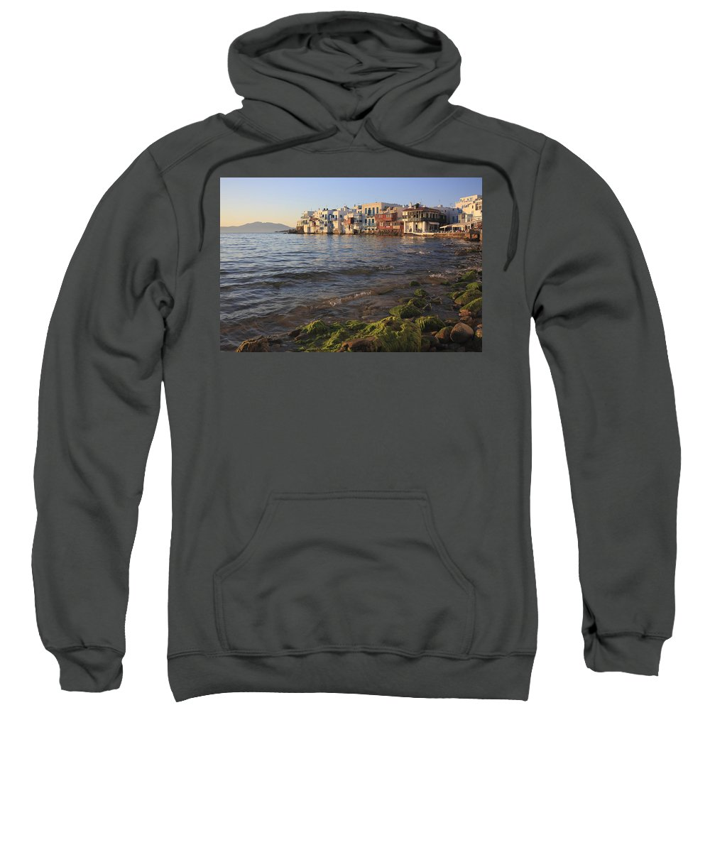 Aegean Sweatshirt featuring the photograph Little Venice At Sunset Mykonos Town Cyclades Greece by Ivan Pendjakov
