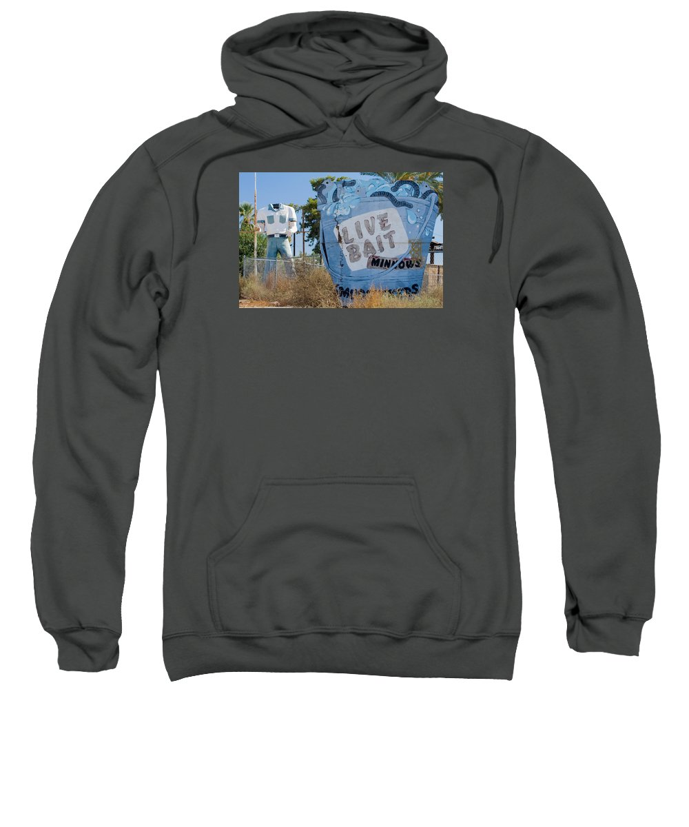 Poor Richards Mini Mart Sweatshirt featuring the photograph Live Bait Sign And Muffler Man Statue by Scott Campbell