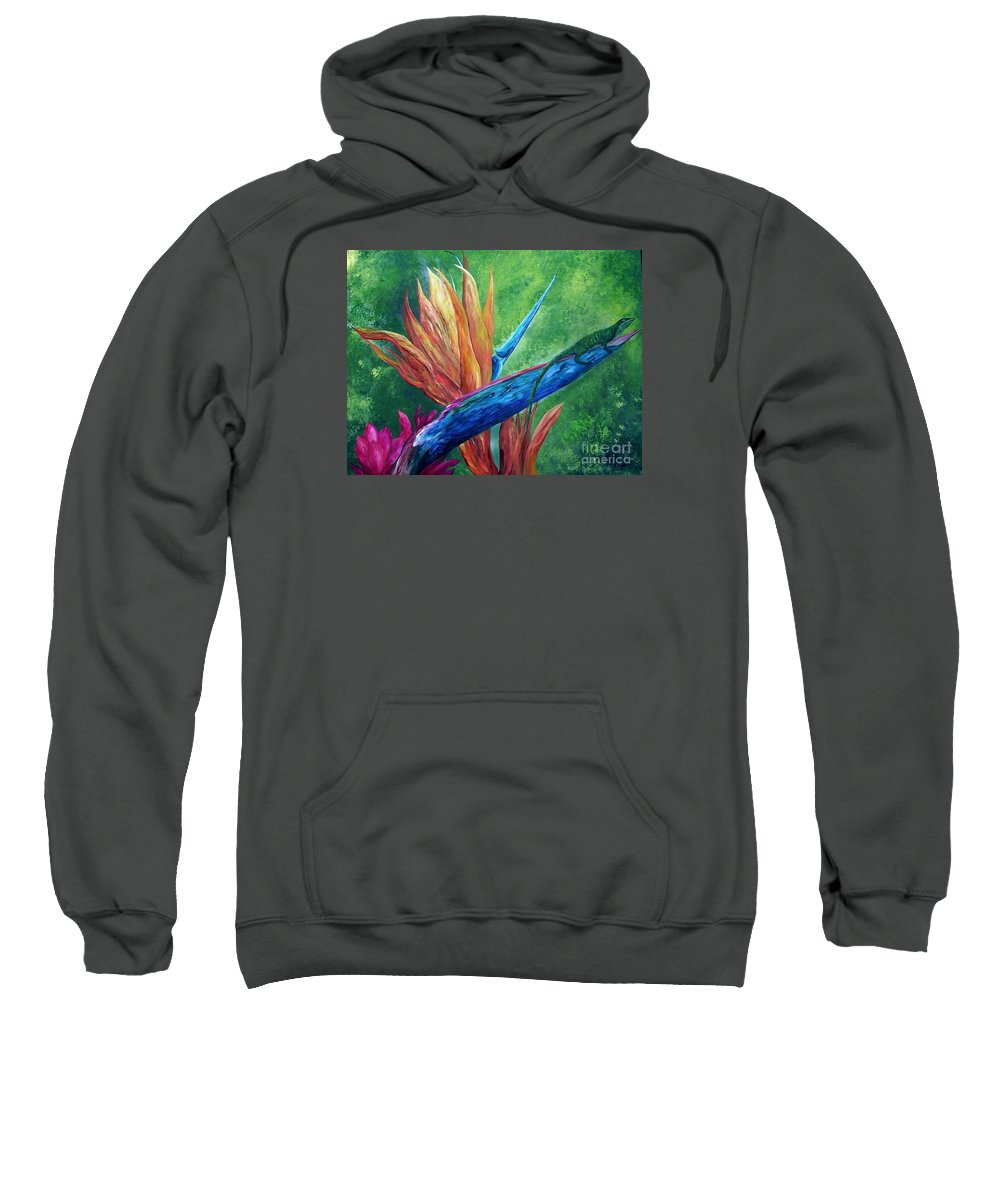 Lizard Sweatshirt featuring the painting Lizard On Bird Of Paradise by Eloise Schneider Mote