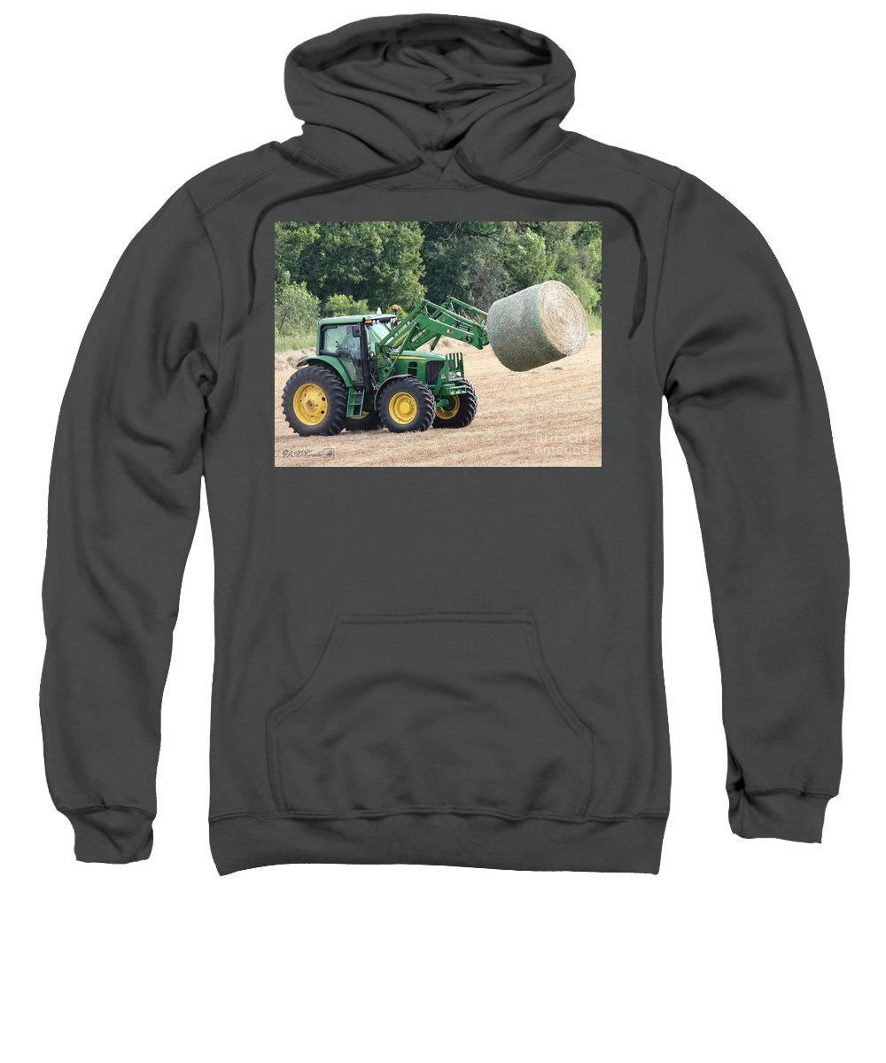 Farm Sweatshirt featuring the painting Loading Hay by J McCombie