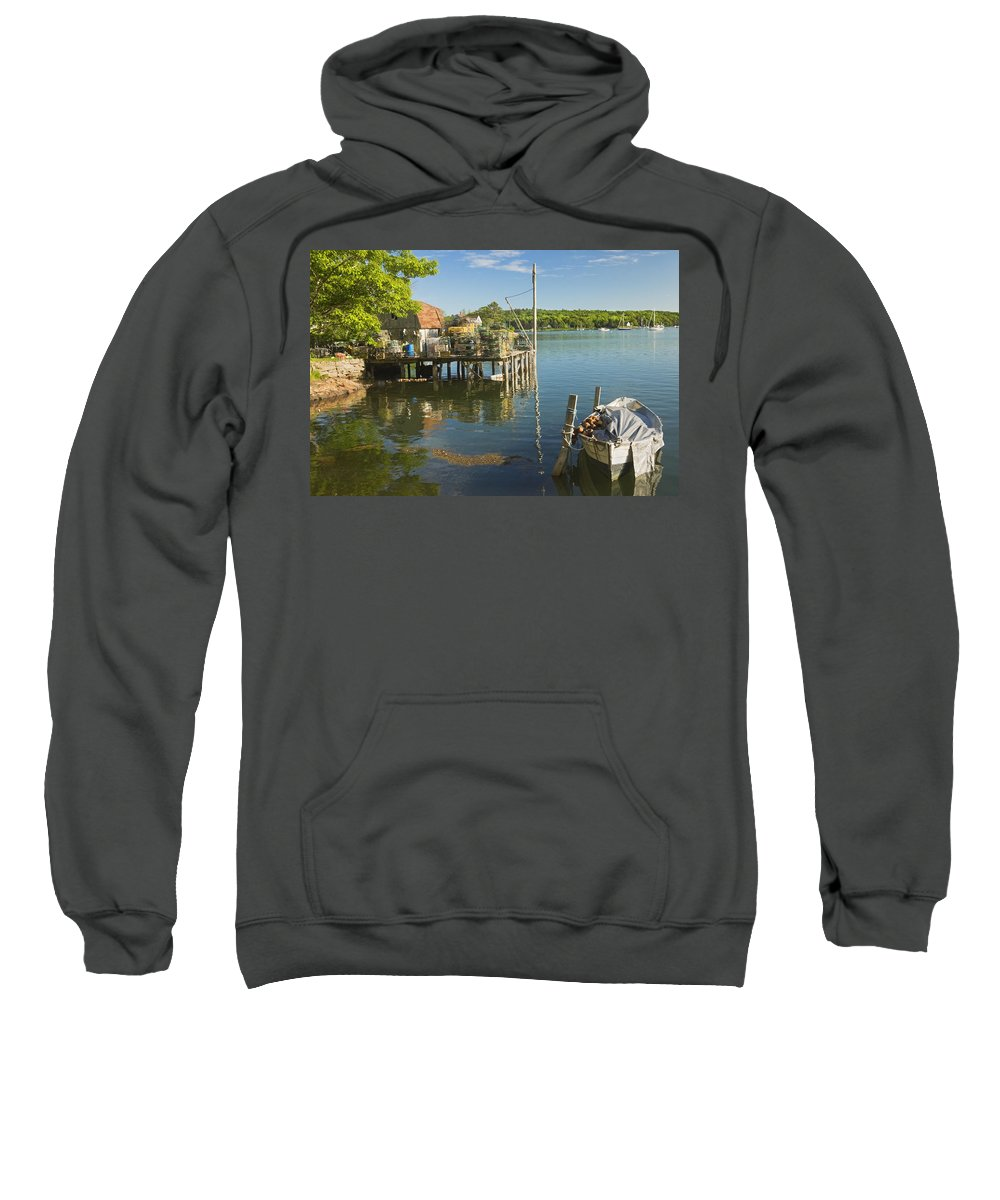 Maine Sweatshirt featuring the photograph Lobster Traps On Pier In Round Pound On The Coast Of Maine by Keith Webber Jr
