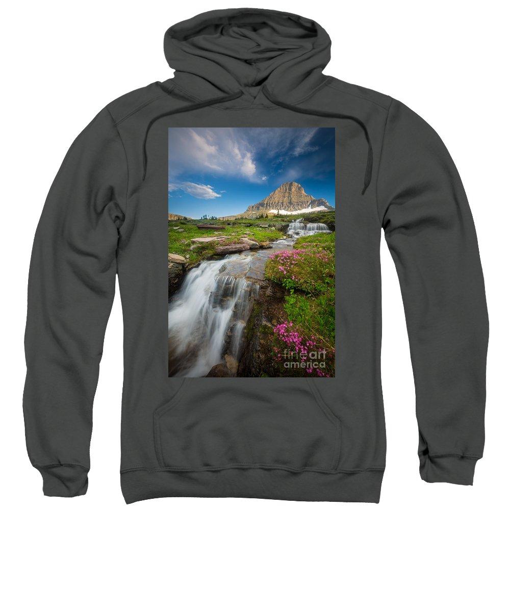 America Sweatshirt featuring the photograph Logan Pass Cascades by Inge Johnsson
