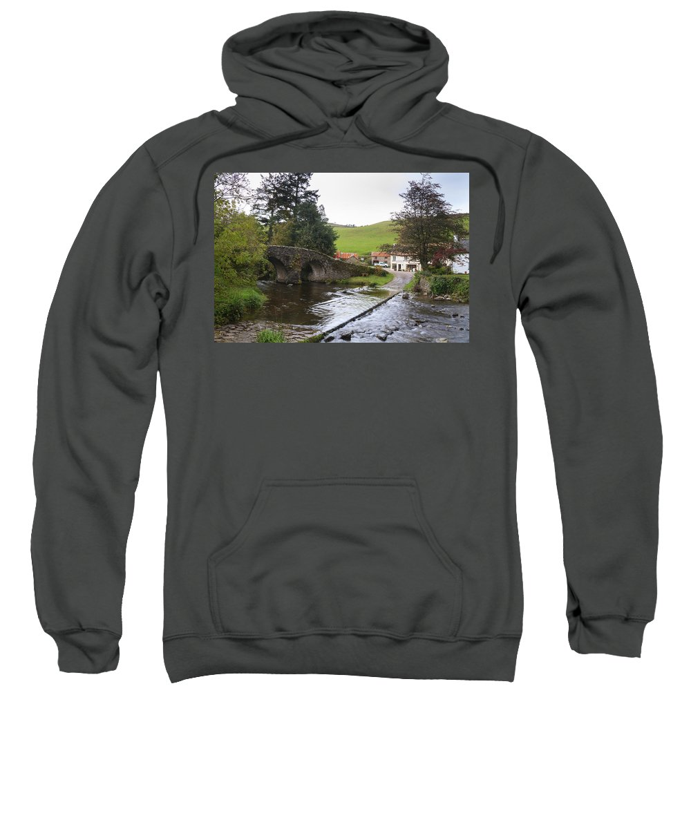 Malmsmead Sweatshirt featuring the photograph Loma Doone Farm Malmsmead by Chris Smith