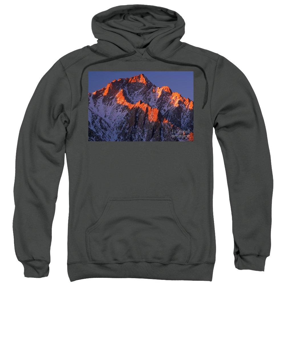 Alabama Hills Sweatshirt featuring the photograph Lone Pine Peak - February by Inge Johnsson