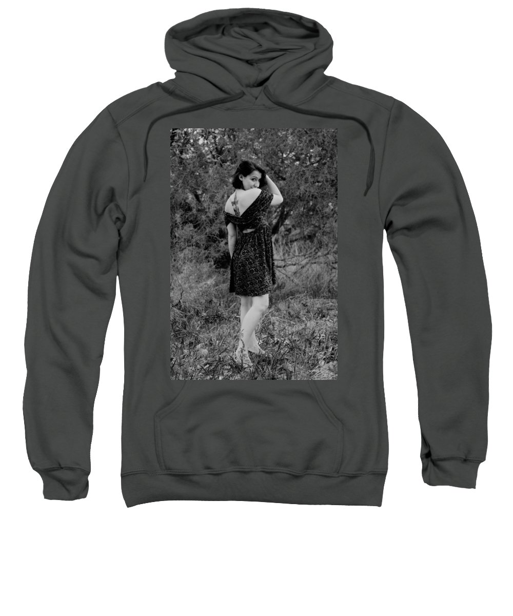 Black And White Sweatshirt featuring the photograph Looking Back In Black And White by Jeff Swan