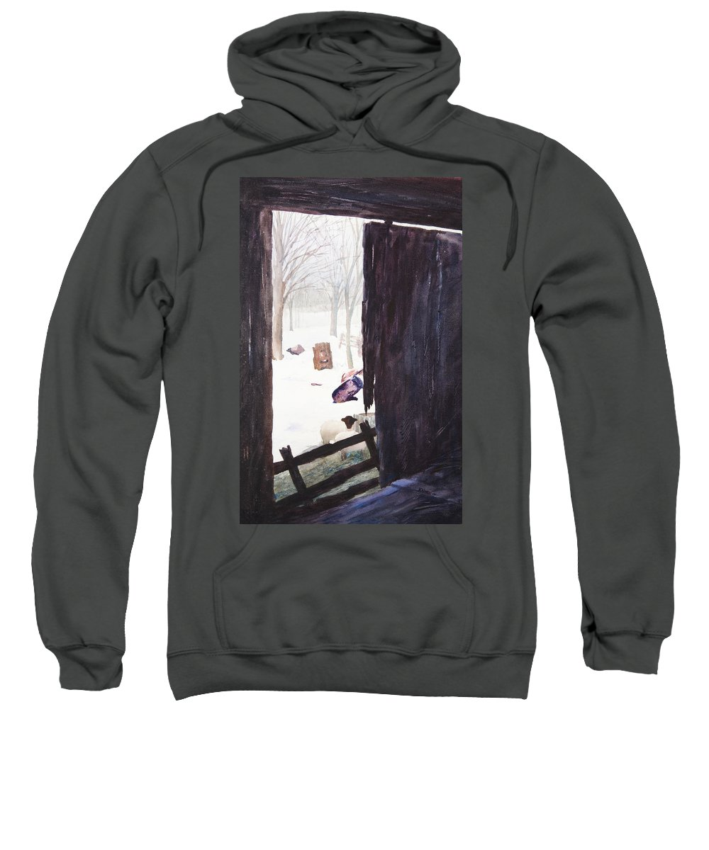 Landscape Sweatshirt featuring the painting Looking Out Looking In by Rachel Christine Nowicki