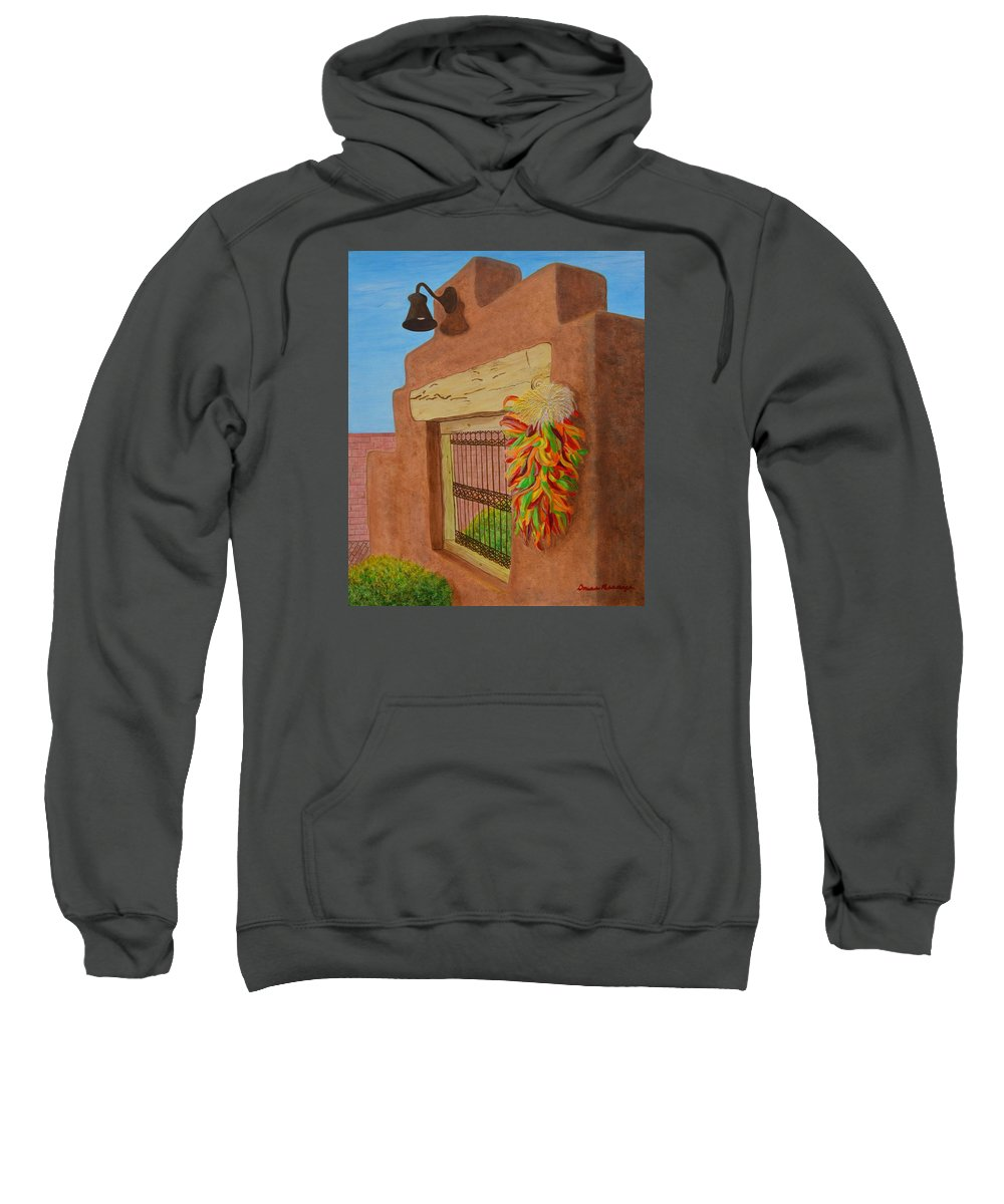 Southwest Sweatshirt featuring the painting Los Chiles by Donna Manaraze