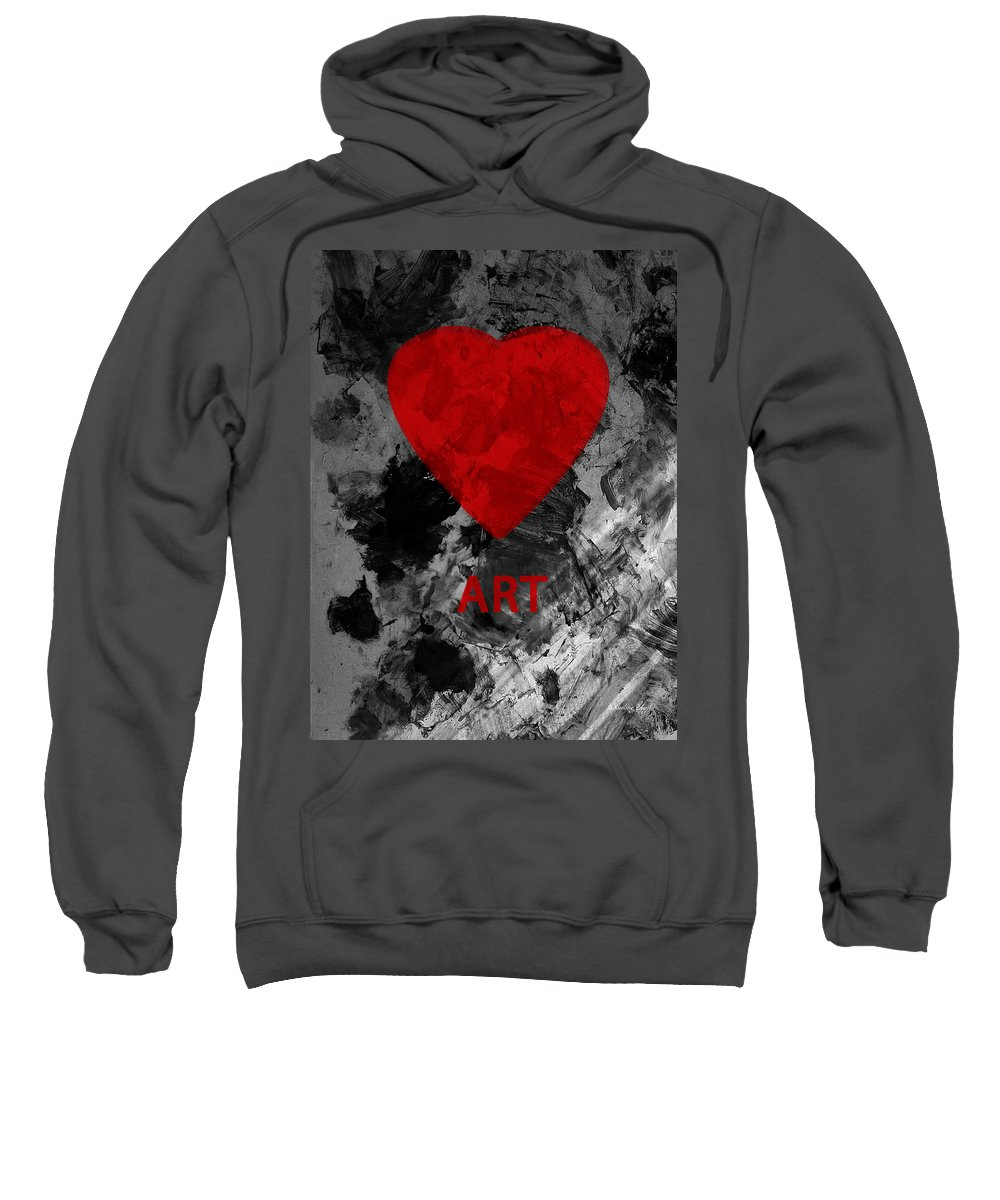 Love Art Sweatshirt featuring the mixed media Love Art 1 by Xueling Zou