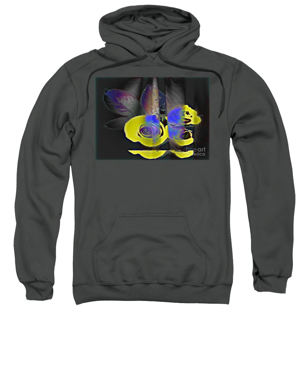 Yellow Rose Image Sweatshirt featuring the digital art Lovely II by Yael VanGruber