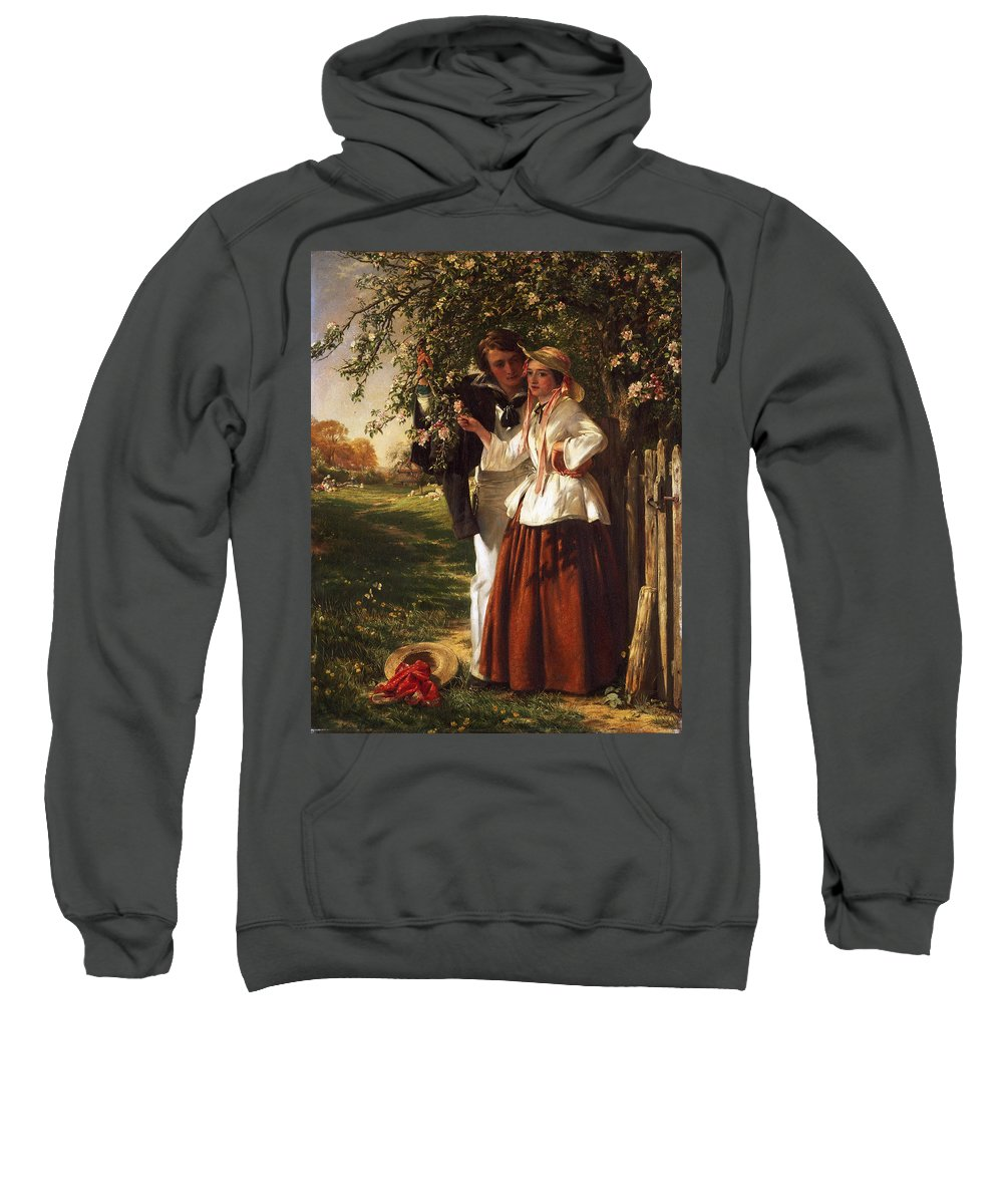 John Callcott Horsley Sweatshirt featuring the painting Lovers Under A Blossom Tree by John Callcott Horsley