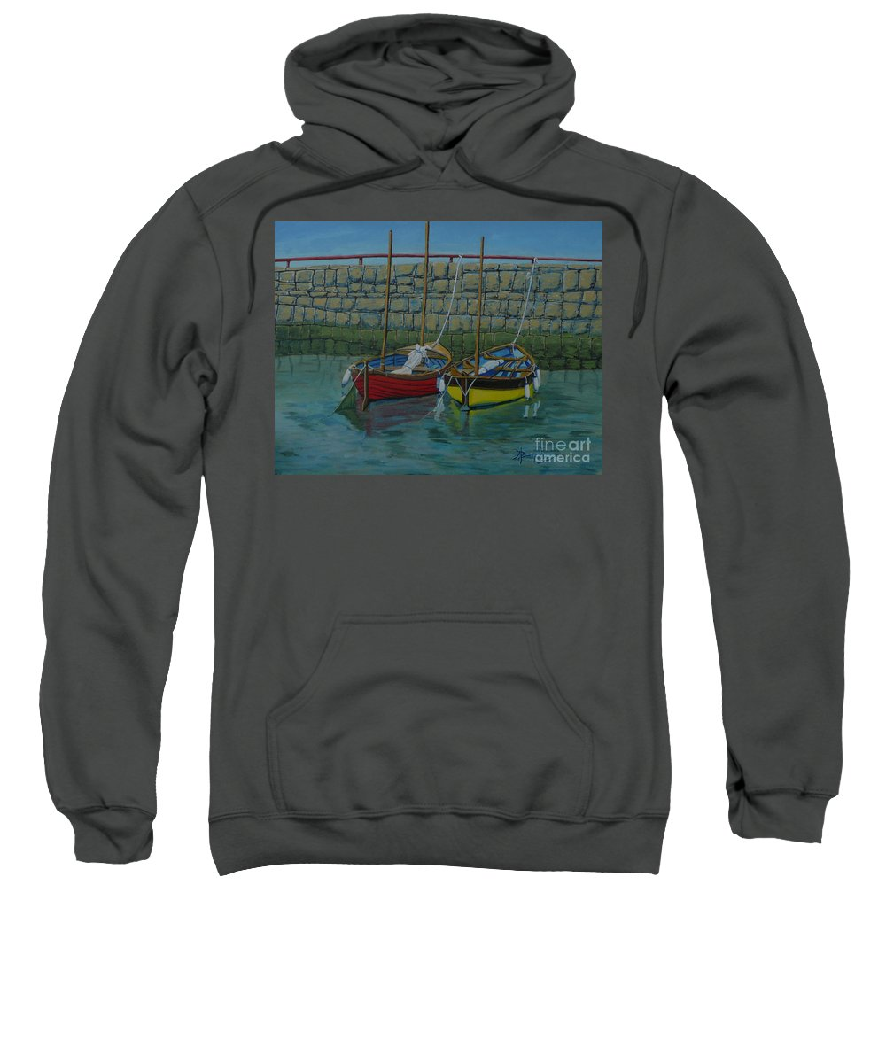 Rock Sweatshirt featuring the painting Low Tide by Anthony Dunphy