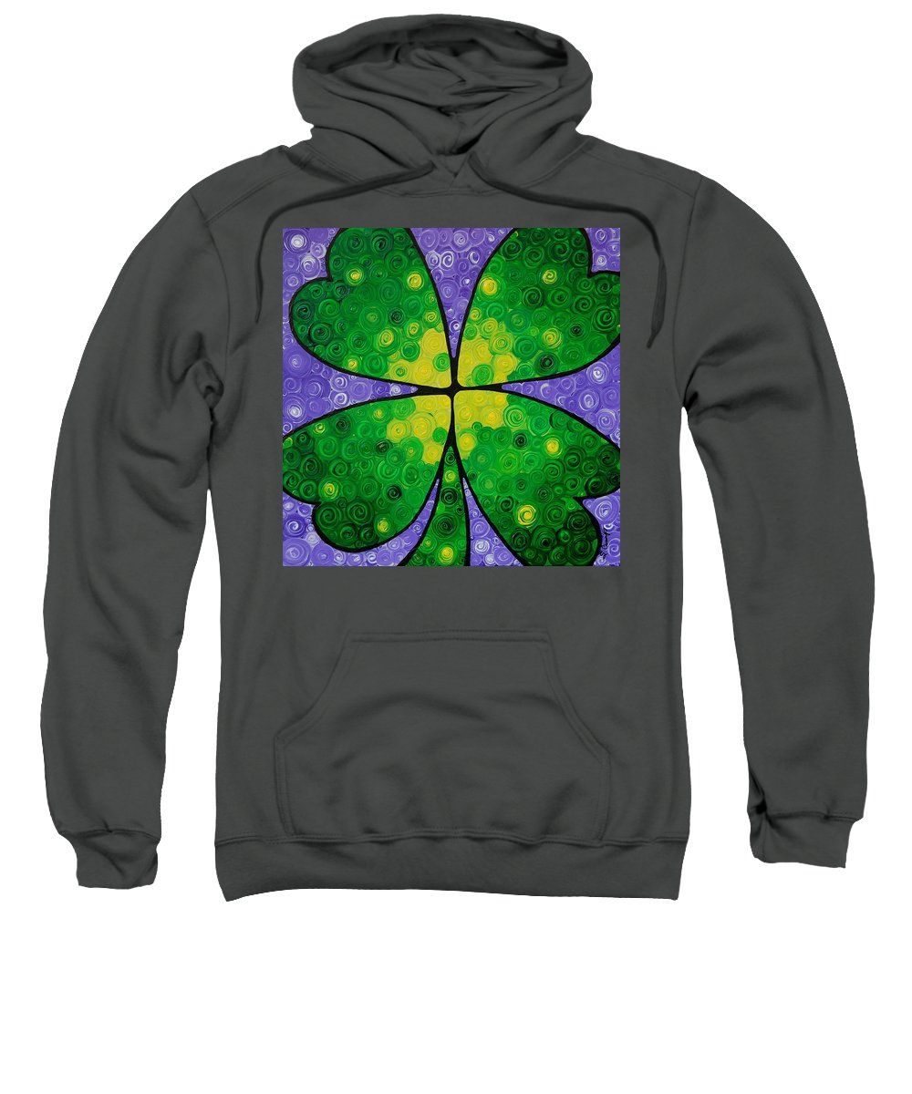 Shamrock Sweatshirt featuring the painting Lucky One by Sharon Cummings