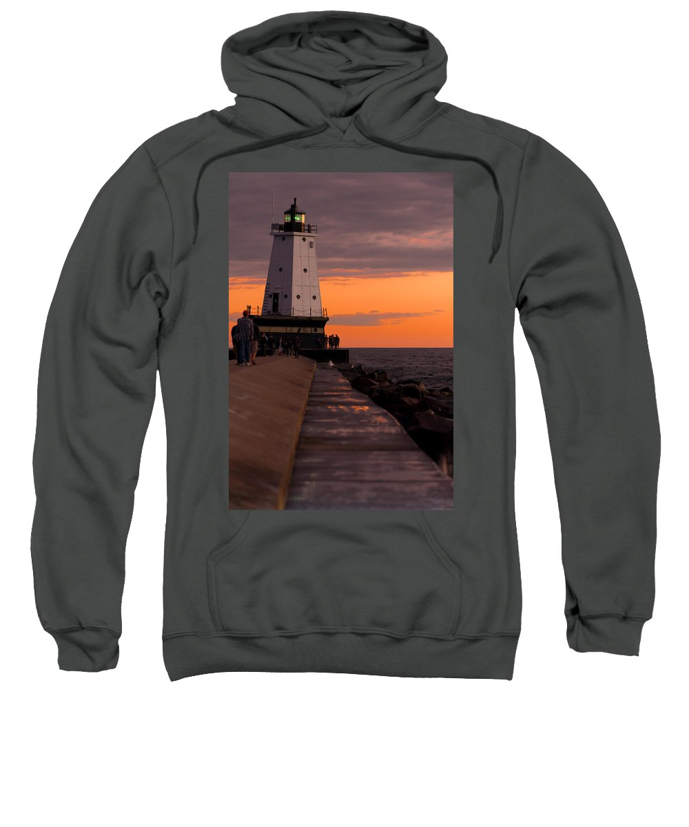 Lighthouse Sweatshirt featuring the photograph Ludington Pier And Lighthouse by Sebastian Musial