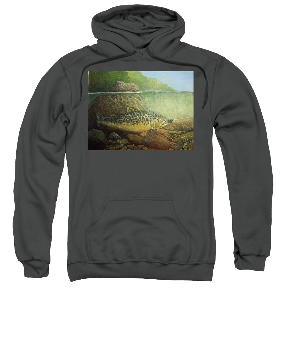 Rick Huotari Sweatshirt featuring the painting Lurking by Rick Huotari