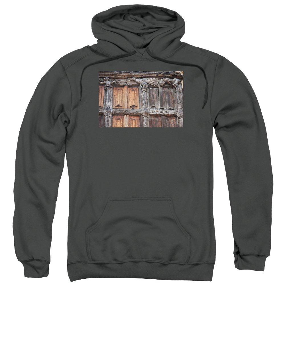 Wood Front Sweatshirt featuring the photograph Maison De Bois Macon - Detail Wood Front by Christiane Schulze Art And Photography