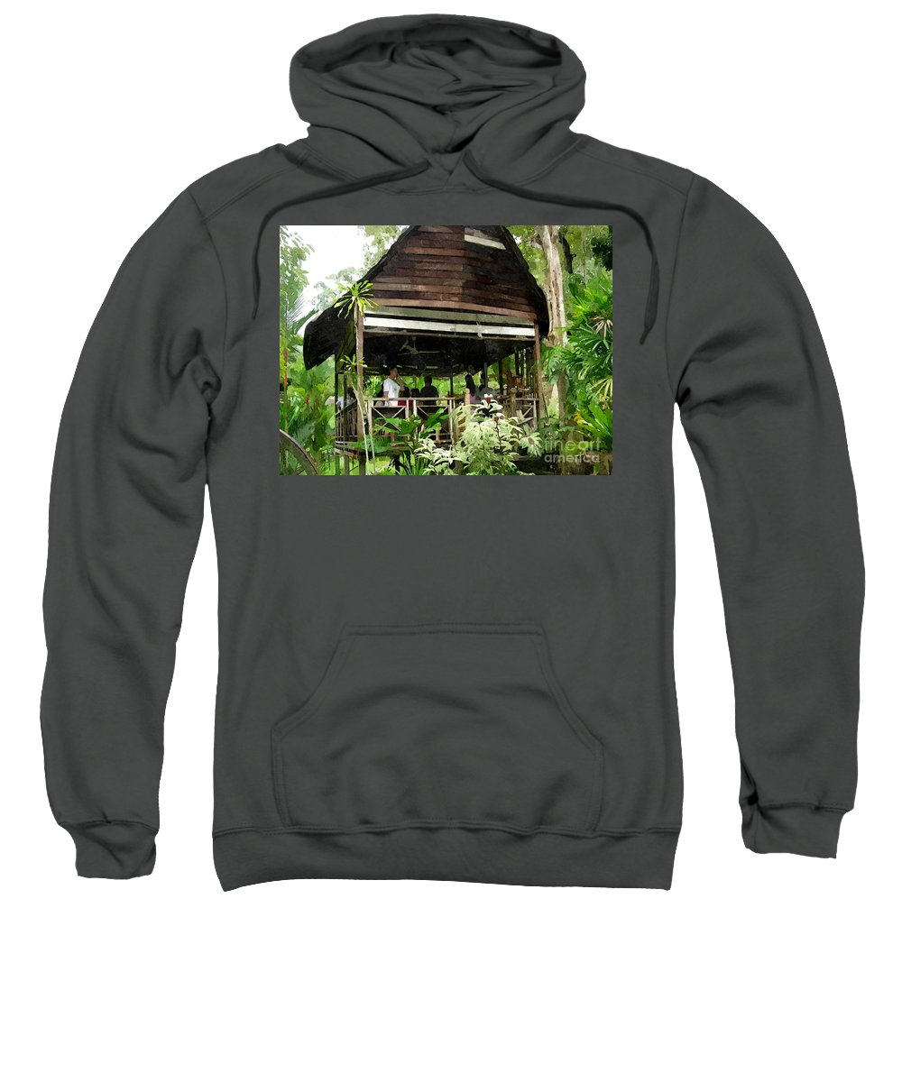 Antique Sweatshirt featuring the painting Malay Hut by Jeelan Clark