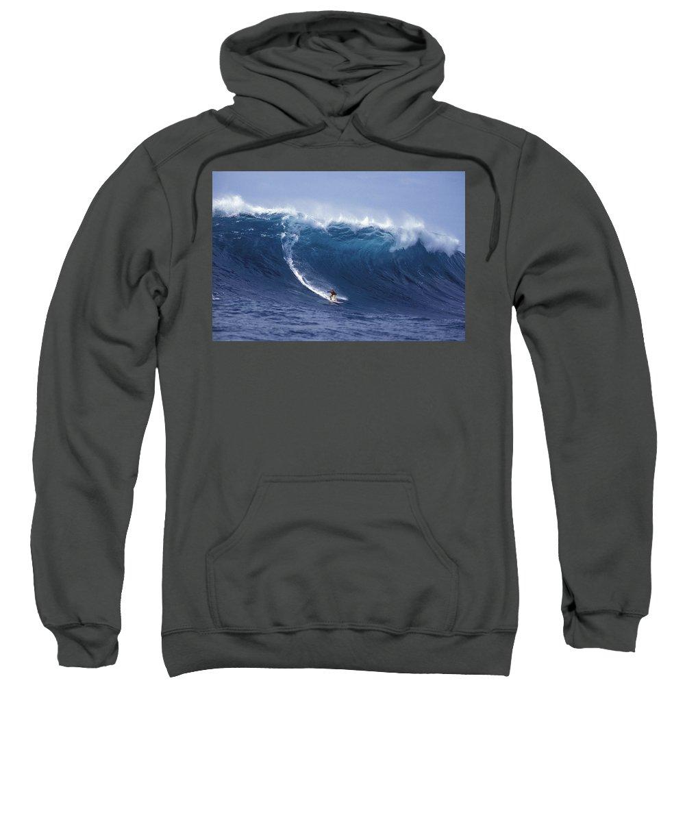 Surf Big Wave Sweatshirt featuring the photograph Man Vs Mountain by Sean Davey