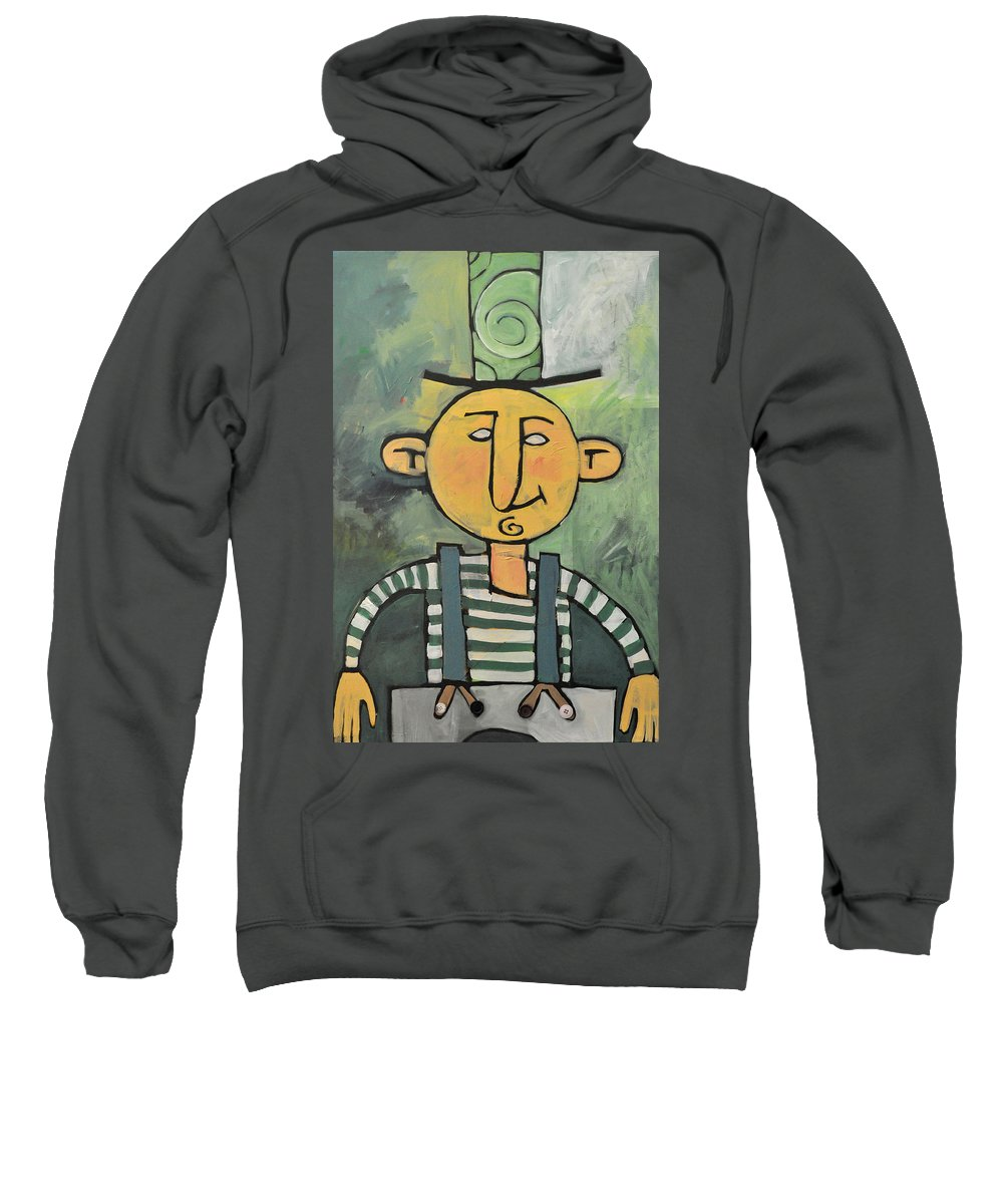 Man Sweatshirt featuring the painting Man With Fancy Hat And Suspenders by Tim Nyberg