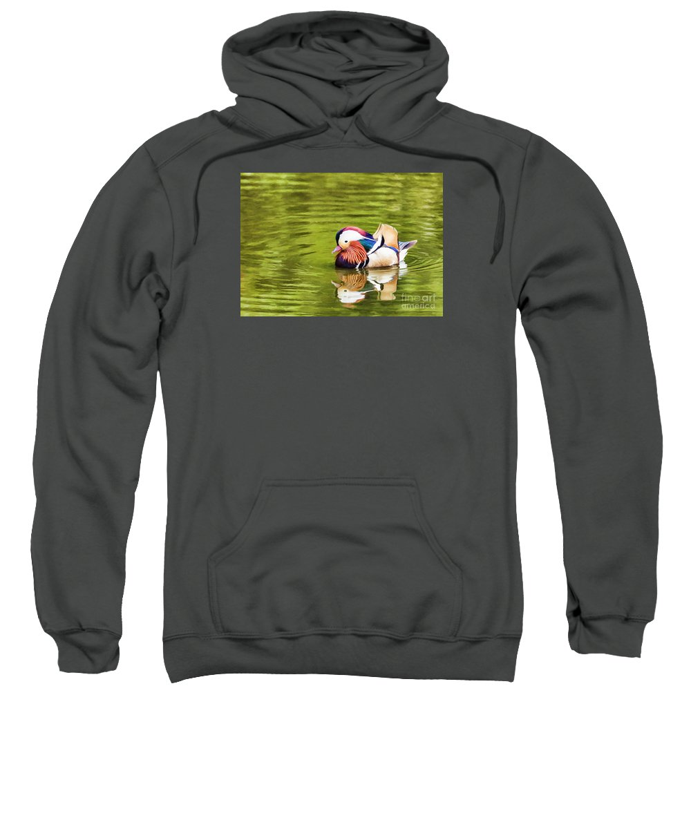 Mandarin Duck Sweatshirt featuring the digital art Mandarin Reflection by Liz Leyden