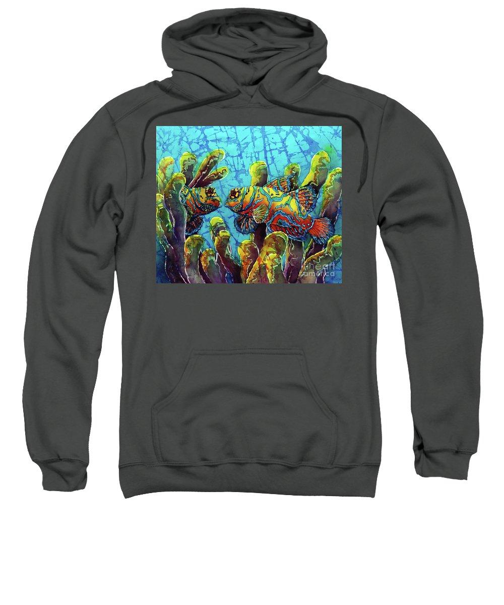 Mandarinfish Sweatshirt featuring the painting Mandarinfish by Sue Duda