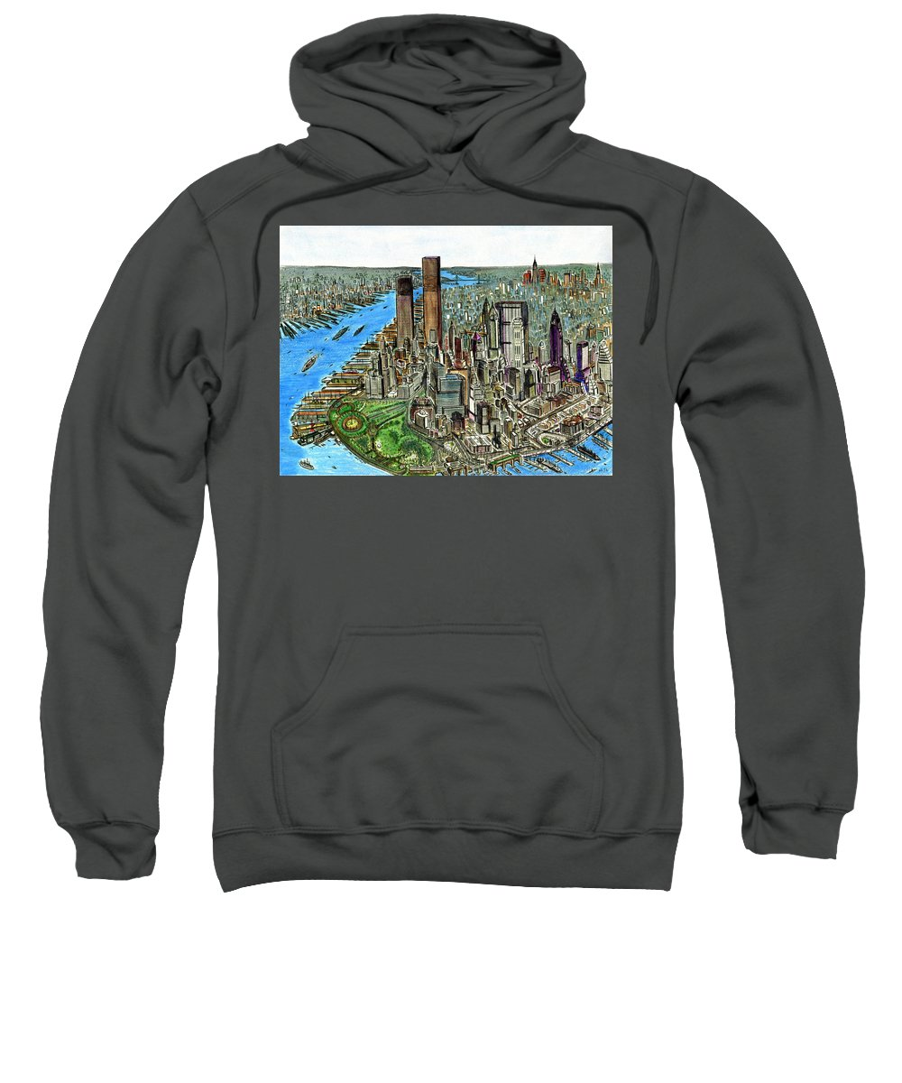 New+york Sweatshirt featuring the painting New York Downtown Manhattan 1972 by Peter Potter