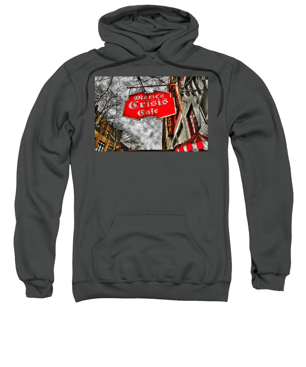 Cafe Sweatshirt featuring the photograph Marie's Crisis Cafe by Randy Aveille