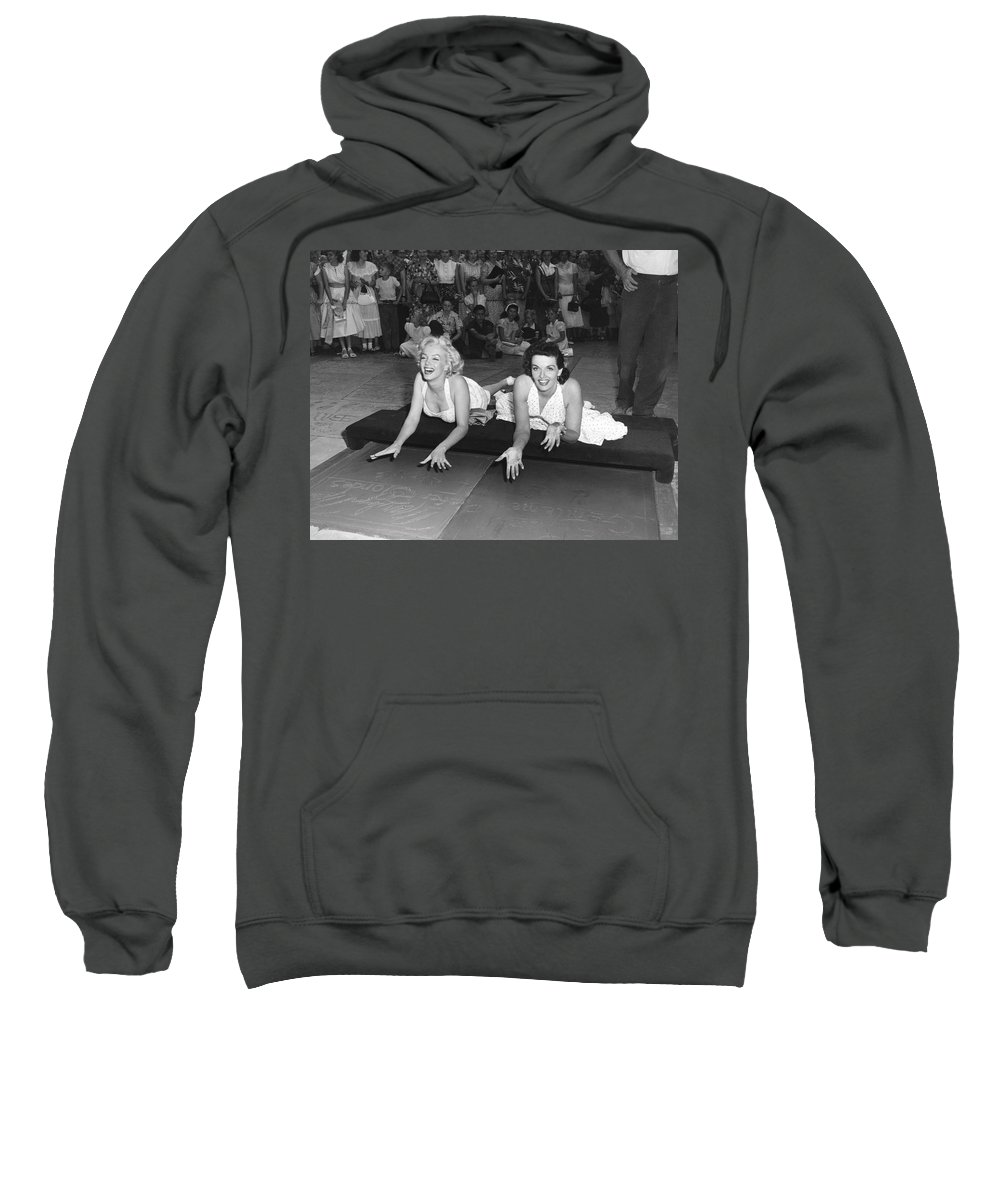 1950's Sweatshirt featuring the photograph Marilyn Monroe And Jane Russell by Underwood Archives