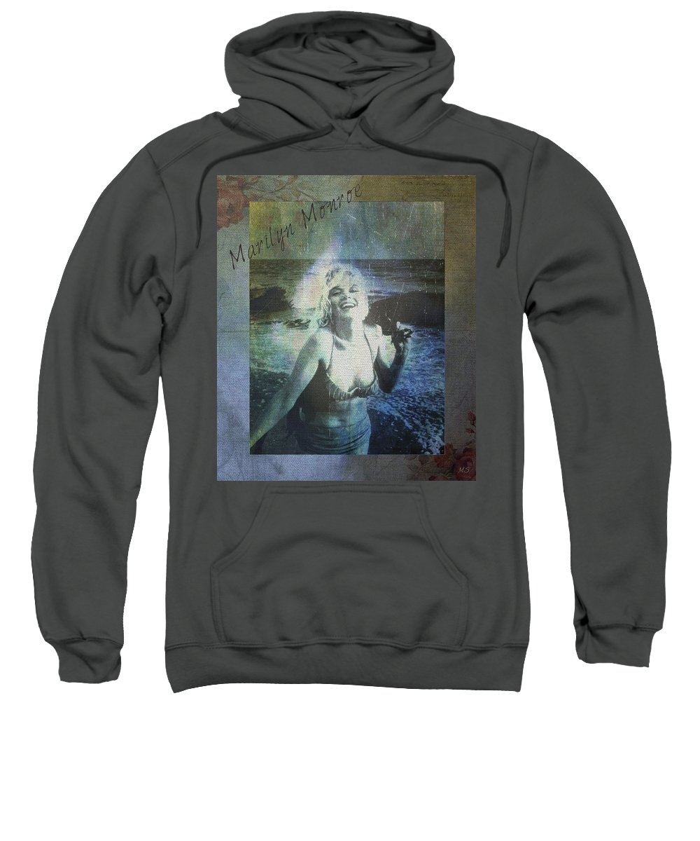 Marilyn Monroe Sweatshirt featuring the digital art Marilyn Monroe At The Beach by Absinthe Art By Michelle LeAnn Scott