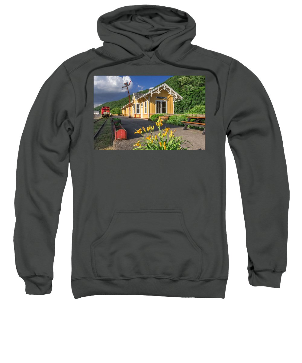 C And O Sweatshirt featuring the photograph Marlinton Train Depot by Mary Almond