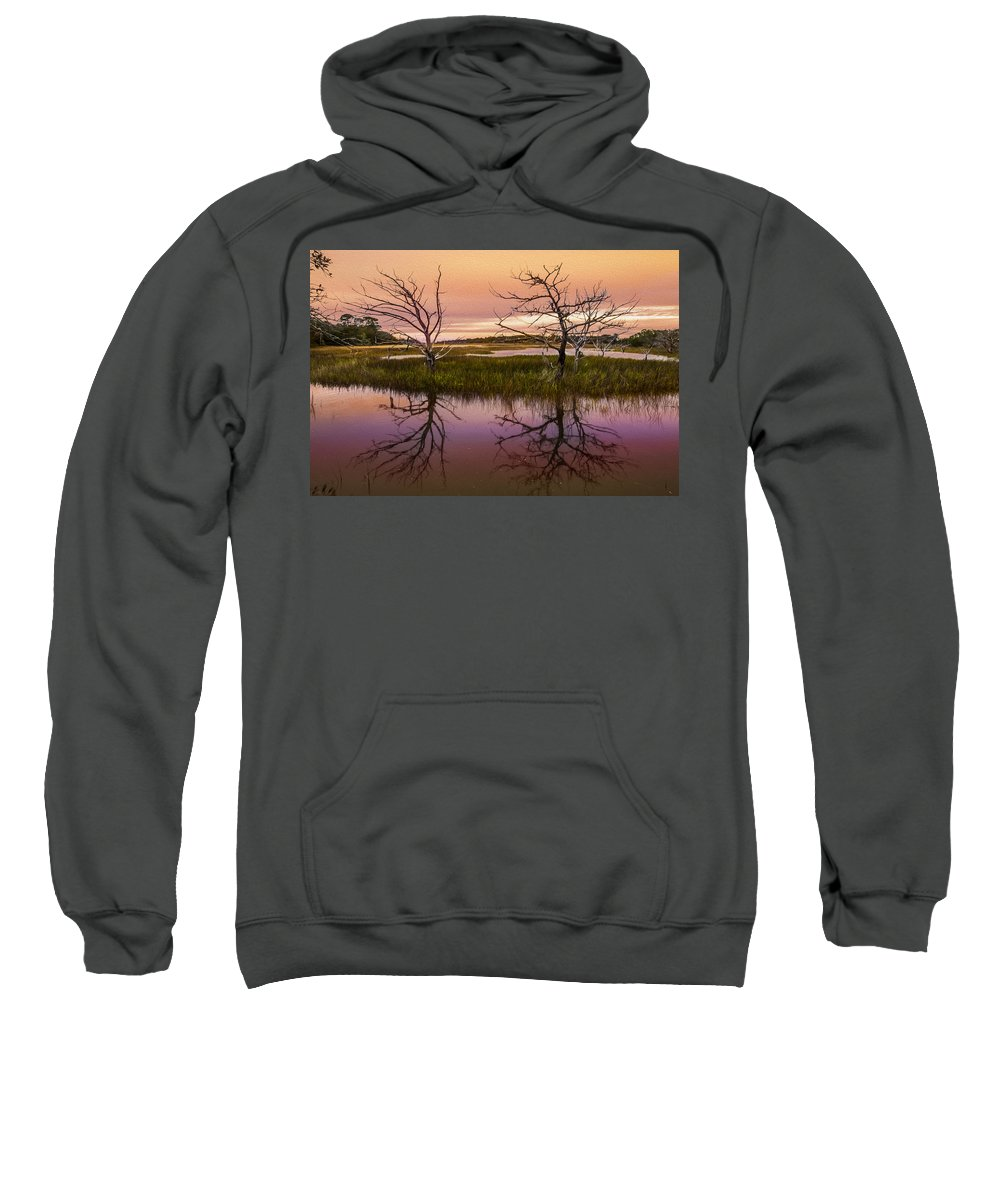 Clouds Sweatshirt featuring the photograph Marsh Oil Painting by Debra and Dave Vanderlaan