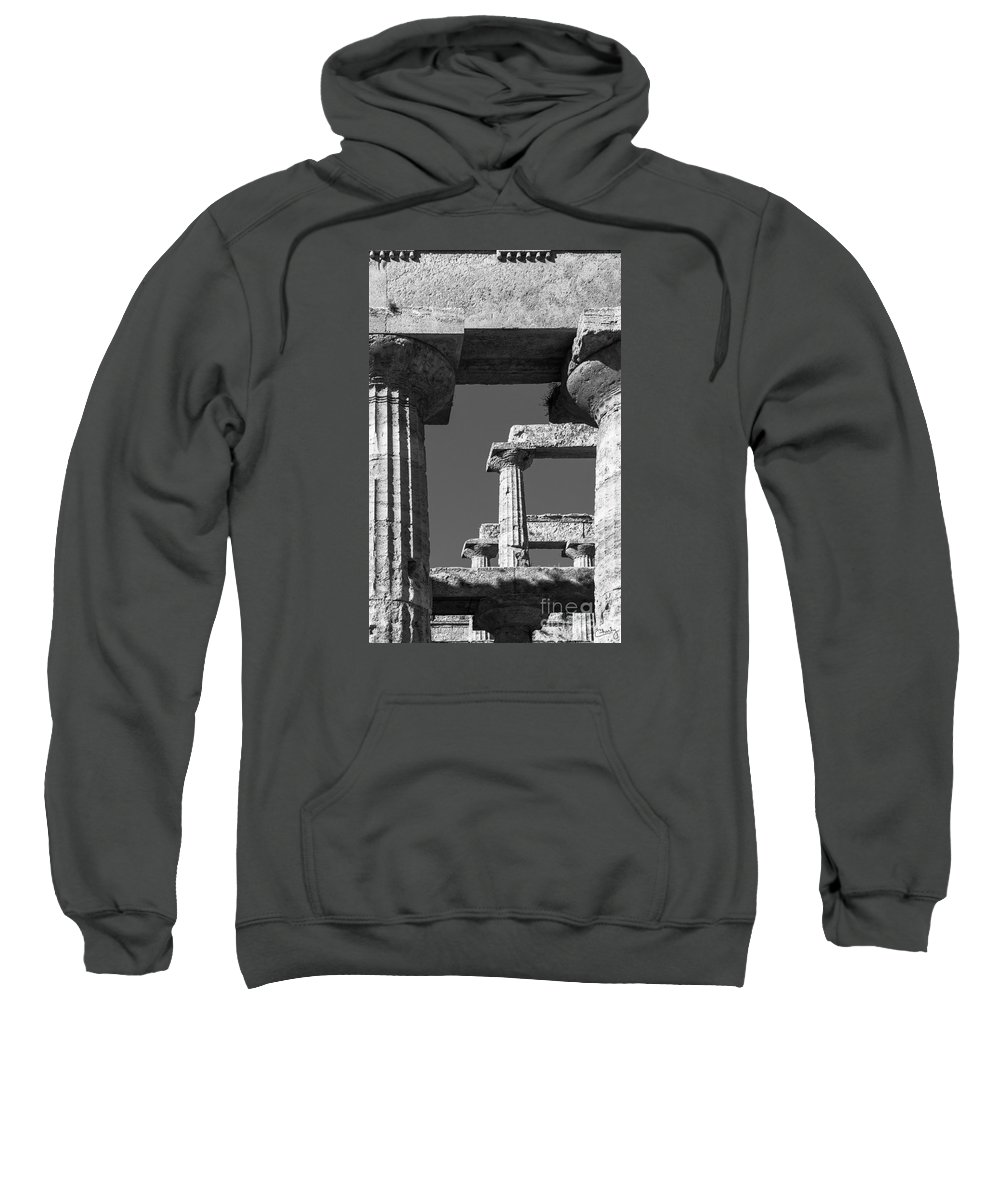 Italy Sweatshirt featuring the photograph Massive Columns Of Paestum by Prints of Italy